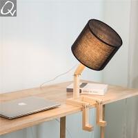 北欧台灯 简约创意卡通ins风格浪漫温馨实木书桌卧室床头灯具