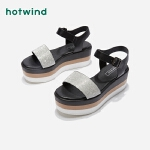 热风夏季小清新女士厚底凉鞋一字扣带拼色凉鞋H59W9206