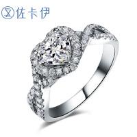 佐卡伊18k金1克拉心形钻戒钻石结婚求婚戒指女戒新款