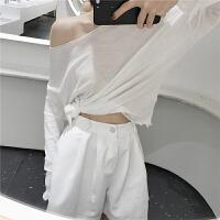 长袖T恤女学生韩版宽松花边露肩一字领上衣夏季薄款防晒衫罩衫潮