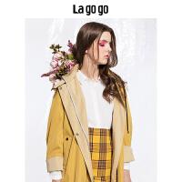 【清仓3折价239.7】Lagogo 2019秋新款纯色连帽长袖风衣女中长款休闲外套HCFF358A56