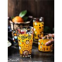 彩色涂鸦玻璃杯水杯耐热印花圆型杯子茶杯漱口刷牙杯