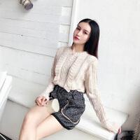 时尚套装女秋季新款韩版毛呢短裤木耳边套头毛衣两件套