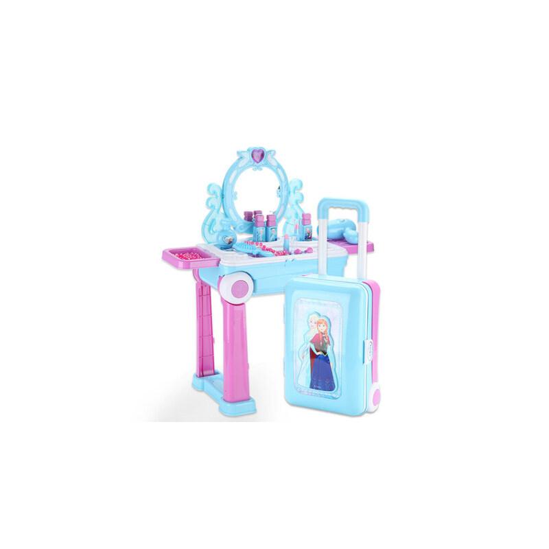 迪士尼儿童梳妆台冰雪奇缘行李箱女孩爱莎公主化妆台玩具套装艾莎 梳妆台旅行箱 两种造型切换
