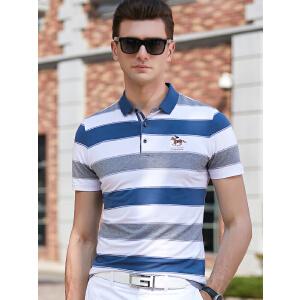 2019夏季商务短袖T恤男翻领 大码条纹新款品牌青年男装保罗POLO衫体恤