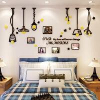 温馨吊灯3d立体墙贴客厅餐厅家居装饰照片墙沙发水晶亚克力背景墙 超