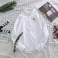 春季新款白衬衫文艺小清新长颈鹿印花打底衫韩版潮男棉长袖衬衣