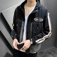 男士外套2020新款韩版休闲春秋宽松潮牌帅气黑白拼接色系工装夹克
