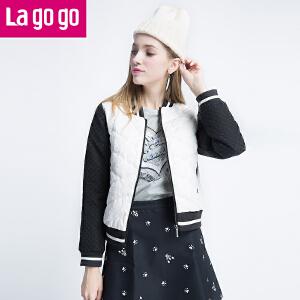 Lagogo/拉谷谷冬季新款长袖棒球衫短款羽绒服女显瘦轻薄修身外套