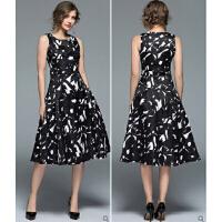 年秋季冬新款 欧美女装水墨印花提花收腰A字裙显瘦无袖连衣裙