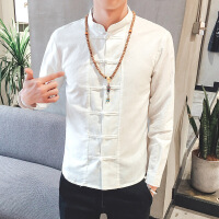 男士衬衣长袖棉麻衬衫修身型中国风男装大码立领盘扣亚麻寸衫白色