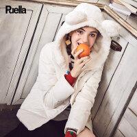 【35折价244.65元】春装新款韩版熊耳朵连帽短款外套小个子加厚白色长袖羽绒服女