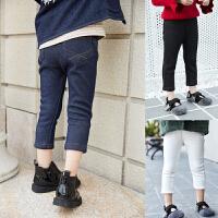 女童裤子冬季新款加绒纯棉保暖时尚百搭针织仿牛仔儿童潮长裤