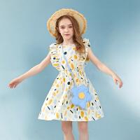 【夏新3件3折:95】巴拉巴拉旗下女童纯棉波点连衣裙洋气2020夏装新款儿童公主裙女