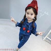 冬季女童套装2019秋装新款小童儿童女宝宝童装小孩洋气时尚时髦两件套秋冬新款 蓝色
