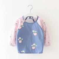 棉薄款婴儿围兜 春夏季宝宝吃饭罩衣女孩反穿衣儿童围裙男童