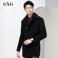 GXG大衣男装男士冬季时尚休闲潮黑色中长款羊毛翻领毛呢大衣外套