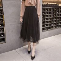 2018春季新款蕾丝半身裙高腰网纱中长款半身裙百搭时尚半身长裙