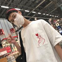 男士短袖T恤纯棉圆领半袖上衣服夏季潮韩版男装印花体恤打底衫