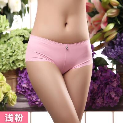 【金秋特惠3条装】中腰无痕女士内裤女 纯色冰丝一片式性感提臀中腰大码三角内裤