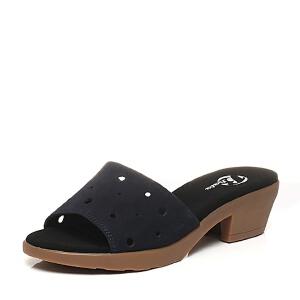 BATA/拔佳夏季专柜同款磨砂牛皮粗跟女拖鞋082-1BT6