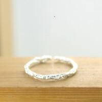 纯银戒指简约手工活口创意开口戒情侣一对女文艺学生指环男可刻字 10号开口1个【适合小手】 一个发中通