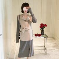 孕妇装2018秋装新款韩版毛呢马甲款宽松孕妇连衣裙两件套套装