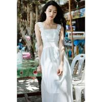 夏季新款韩版清新蕾丝花边方领无袖连衣裙女雪纺吊带裙宽松白色仙女裙中长款海边度假沙滩裙长裙 白色