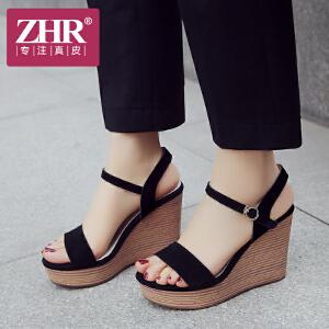 ZHR2018夏季新款韩版百搭凉鞋松糕坡跟女鞋一字扣高跟鞋厚底鞋子F75