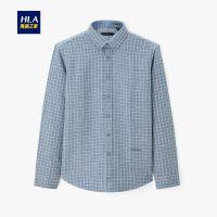 HLA/海澜之家时尚格纹长袖衬衫2019冬季新品舒适反面拉绒长衬男