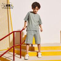 小虎宝儿男童短袖套装洋气潮2020夏季新款儿童宽松五分裤中大童装