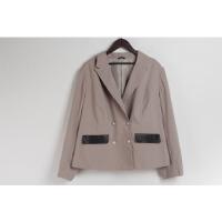 L08012日单秋新款韩版简约双排纽扣显瘦好搭配女纯色西装外套大码