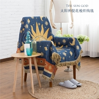 沙发巾沙发套沙发罩沙发垫全盖全包四季通用布艺美式乡村无扶手 太阳神提花梭织线毯