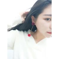L@5 个性纯色毛球耳钉女长毛毛耳坠流苏耳环韩版气质耳饰品YQ