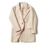 女装冬装新潮 东大门纯色两粒扣长袖毛呢外套女中长