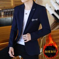 西装男士休闲韩版修身青年帅气小西装秋冬季印花加绒西服外套潮流 -加绒款