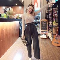 2018春季新款韩版扭结长袖交叉V领性感上衣+百褶系带阔腿裤两件套