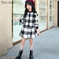 冬季女童秋装套装2018新款洋气韩版潮时髦格子两件套秋季儿童针织套裙秋冬新款