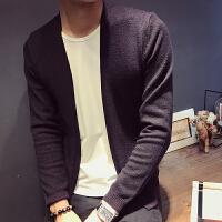 新款秋季男士针织衫开衫S码韩版个性假两件毛衣男160小个修身针