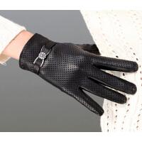 皮手套女式保暖薄款真皮手套时尚透气
