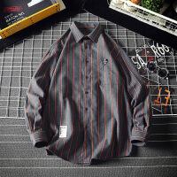 新款条纹长袖衬衫男士潮流韩版帅气大码衬衣男式秋装寸衣外套