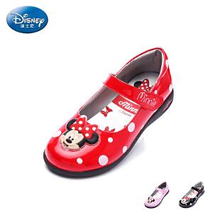 迪士尼童鞋2017年新款米妮头儿童皮鞋小童时装灯鞋学生鞋单鞋