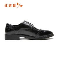 红蜻蜓男鞋春秋新款英伦商务休闲皮鞋男士潮流布洛克雕花低帮皮鞋