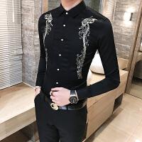 男士长袖衬衫韩版修身型潮夜店个性百搭休闲衬衣发型师工服
