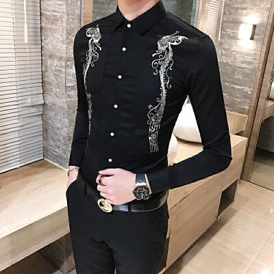 男士长袖衬衫韩版修身型潮夜店个性百搭休闲衬衣发型师工服 发货周期:一般在付款后2-90天左右发货,具体发货时间请以与客服协商的时间为准
