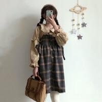 秋冬季女装韩版学生宽松拼接格纹呢子背心裙连衣裙裙子可爱日系潮