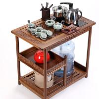 功夫茶具套装茶车实木移动茶台带轮茶车柜花梨大号多功能简约现代
