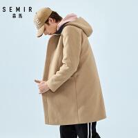 森马毛呢大衣男连帽中长款外套男士春季新款韩版羊毛呢子风衣