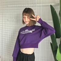 青春韩版露脐装卫衣社会女hiphop街舞爵士舞蹈服装短款上衣学生潮