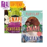 【中商原版】爱做的鬼脸活动玩具书2册 Flip Flap Snap 益智游戏书 低幼童书 儿童立体书 亲子绘本 精装 英